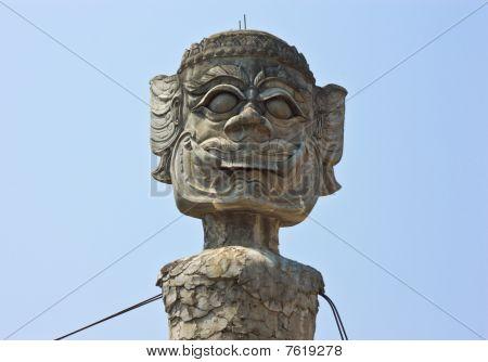 giant statue protec in wat-prajao-ton-louang chiangmai thailand poster