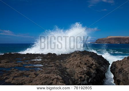 Waves By The Rocky Shore