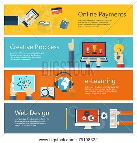 Modern concepts collection in flat design with trendy colors for e-business, web sites, mobile applications, distance learning, online payments, banners etc. Vector eps10 illustration
