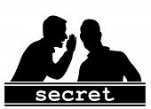 Secret. Two men share information. The silhouette. poster