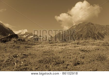 South Island landscape in sepia. Old style image of Hooker Valley, Aoraki-Mount Cook National Park,