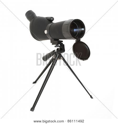 Birdwatching monocular or spotting scope on a tripod