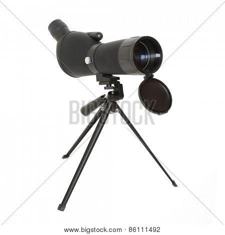 Birdwatching monocular or spotting scope on a tripod