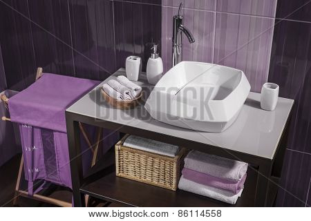 Detail Of A Modern Bathroom With White Sink And Accessories