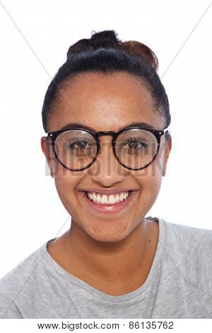 Happy Indian Girl With Glasses Looking At Camera