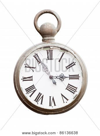 Old Clock Isolated On White