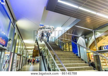 People Travel At Alexanderplatz Subway Station In Berlin