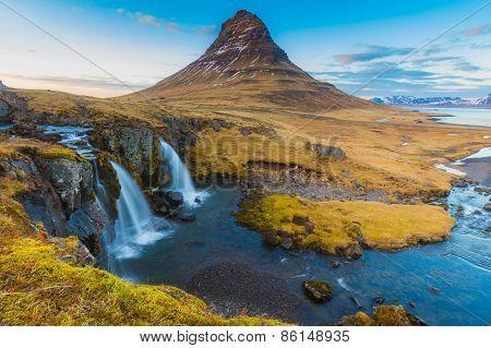Water falls at Kirkjufell mountain , Iceland poster