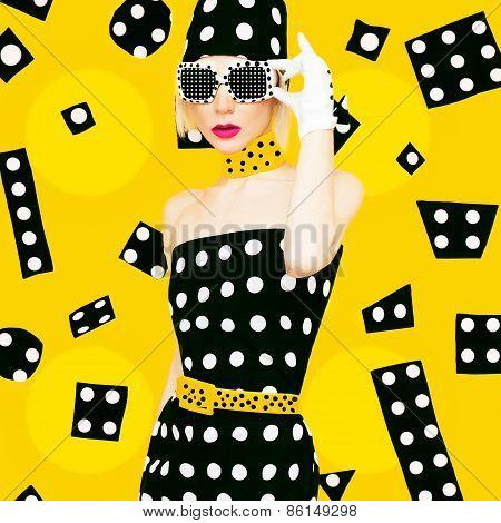 Polka Dots Vintage Lady. Glamorous Fashion Disco Style.