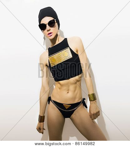 Sexy Sports Girl In Fashionable Clothes. Metal, Swag, Glamour