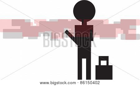 silhouette of a man with a bag