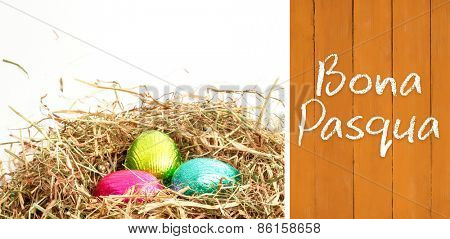Bona pasqua against wooden planks