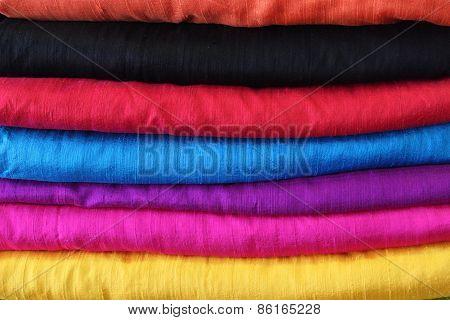 set of colorful fabrics