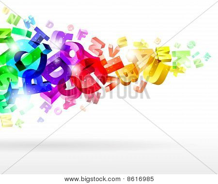 abstract composition with 3d letters