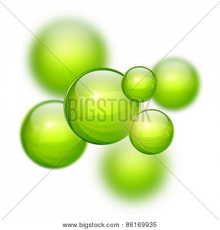 Abstract 3D background with green balls, blurred mesh gradients vector design.