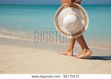 Fragment Of Women Walking Along The Sea