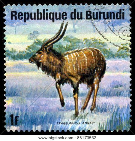 Vintage  Postage Stamp. Roan Antelope, Animals Burundi.