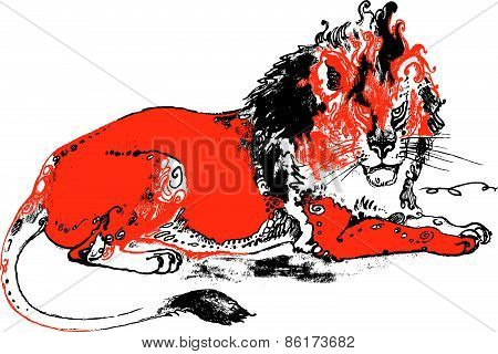 Red lion angry