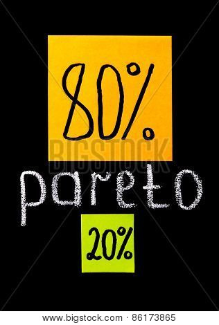 Pareto principle or eighty-twenty rule represented on a blackboard and color sticky notes poster