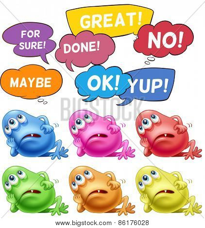 Monster thinking and different speech bubbles