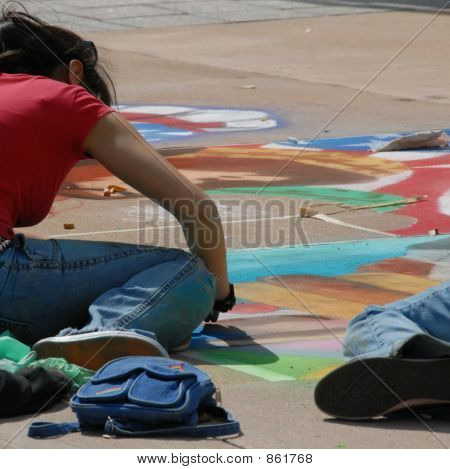 sidewalk art in progress