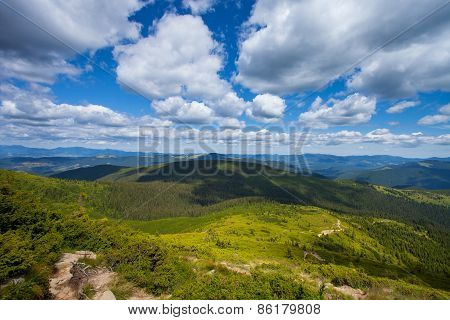 Mountain view from the top of Goverli, Carpathians
