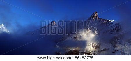 The high mountains of the Himalayan mountain range