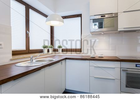 Wooden Countertops In Traditional Kitchen