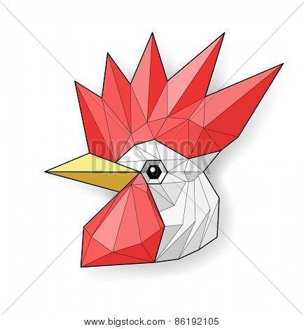 Cock. Low polygon linear vector illustration