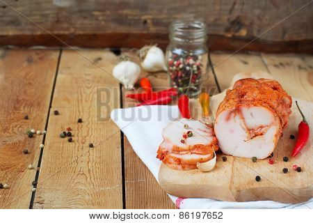 Chicken Pastrami, Chili Peppers On Wooden Background. Copy Space