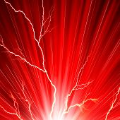 Electric flash of lightning on a red background poster