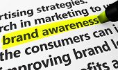 Marketing and advertising concept with a 3d rendering of brand developing strategies related words and brand awareness text highlighted with a yellow marker. poster