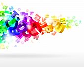 abstract vector illustration with rainbow 3d letters poster