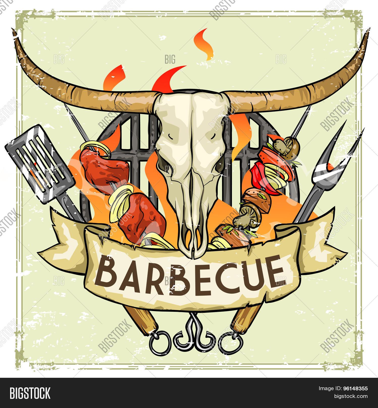 BBQ Grill Label Vector & Photo (Free Trial) | Bigstock