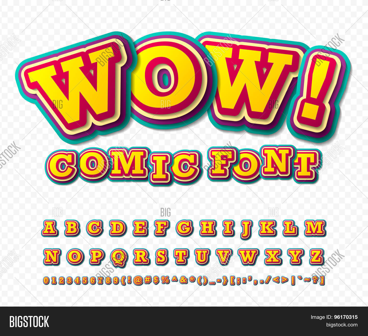 Comic Font Alphabet In Style Of Comics Pop Art
