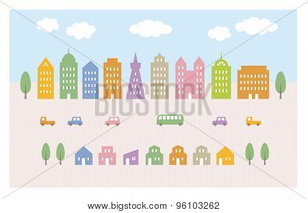 City Illustration, Buldings And Cars