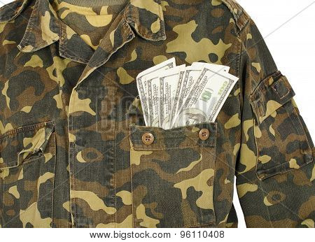 Army Uniform Pocket With Dollars