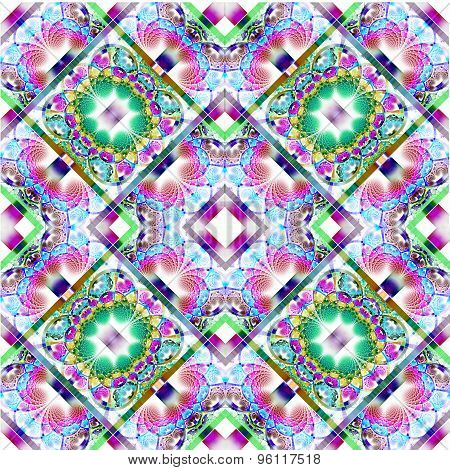 Fabulous diagonal fractal pattern with shiny strips. Collection - rhinestones. Artwork for creative design art and entertainment. poster