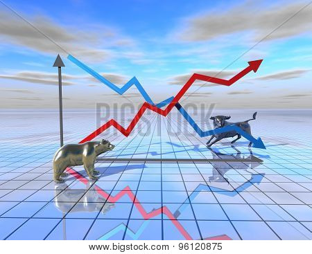 Stock Market Graph Abstract Illustration With Bear And Bull