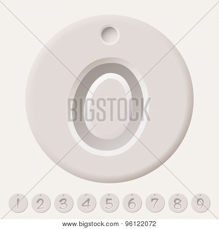 Collection illustrated number tags from 0 to 9 with shadow effect
