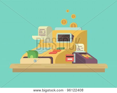 Cash register in flat style