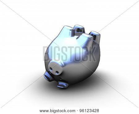 Financial Problems Abstract Concept With Shiny Piggy Bank Lying On Floor.
