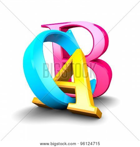 A B C Letters, Education And Pedagogy Concept, 3D Letters Blue, Yellow And Pink.