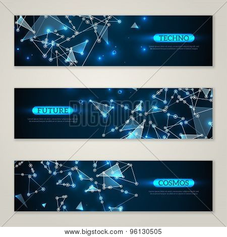 Banners set with wireframe mesh polygonal element