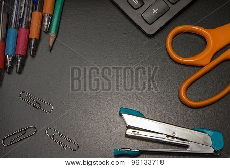 Closeup Office Stationery On Black Background, Back To Shcool Concept