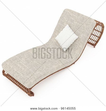 Rattan sun lounger with mattress 3d graphics