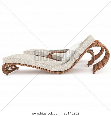 Rattan Chaise profile 3d graphics