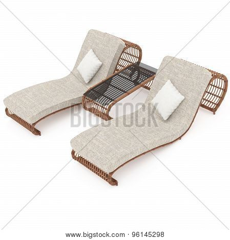 Deck chairs rattan with table 3d graphics