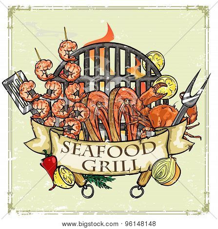 BBQ Grill label design - Seafood
