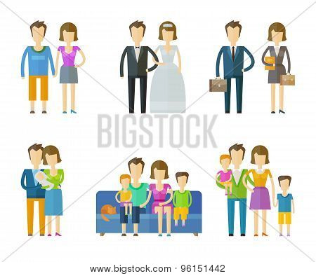 people, folk vector logo design template. wedding, family, nuptial or children icons